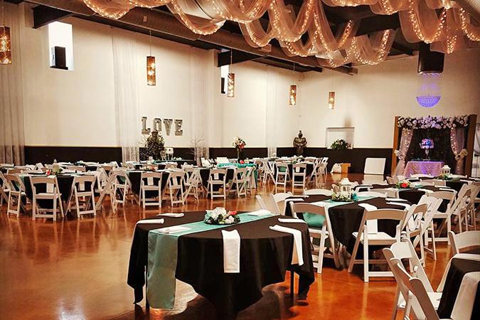 Timeless events venue black tablecloths