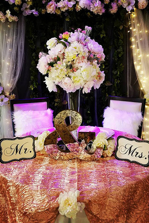 Timeless events flowered bride and groom table