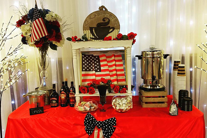 Timeless events patriotic beverage table