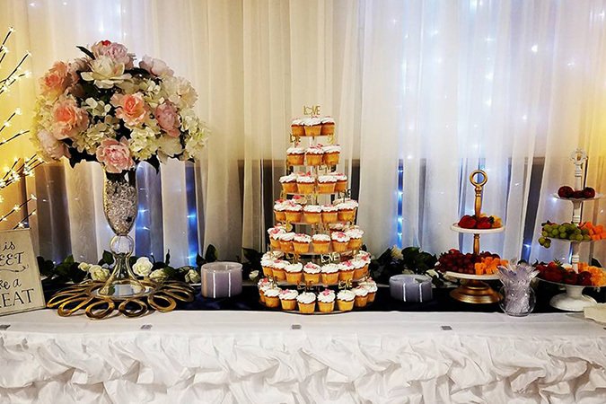 Timeless events ruffle dessert table